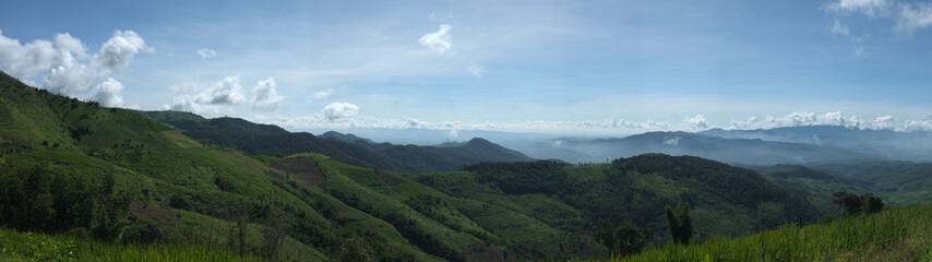 Beautiful Doi Chang Mountain and Field and cloud background ,  Doi Chang   Mae Suai  Chiang rai