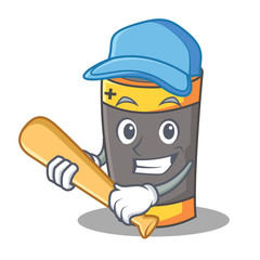 Playing baseball battery character cartoon style