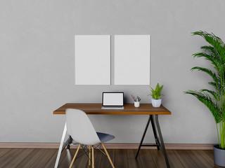 Mock up poster in workspace. 3D Rendering.