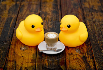 Duckies Sharing a Cortado