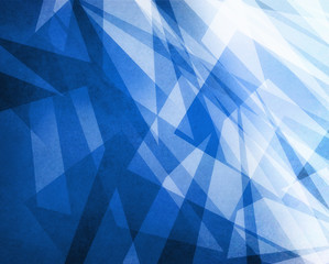 abstract blue and white background with layered transparent stripes and shapes in random abstract pattern with texture