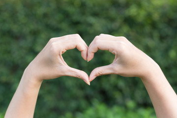 Female hands in the form of heart shape on nature green blur leaf background, happy love and freedom concept.