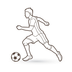 Soccer player running with soccer ball action outline graphic vector