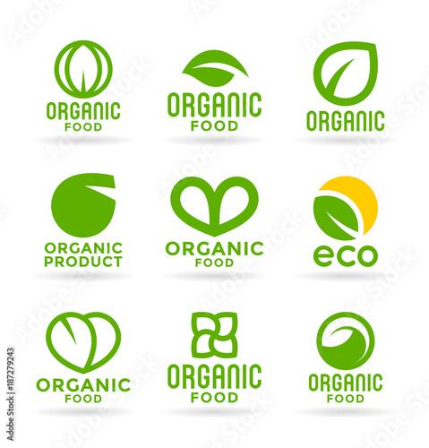 Eco Food Organic Bio Products Eco Friendly Vegan Icons And