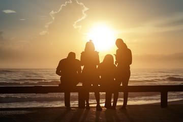 People sunrise sea