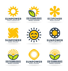 Sun energy logo templates and icons