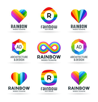 Set of abstract rainbow symbols and colorful logo design elements
