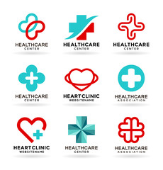 Medicine and Healthcare. Medical icons set and healthcare logo design elements