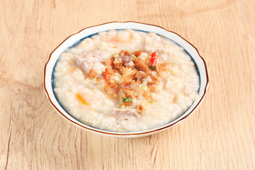 Brown rice porridge on the table