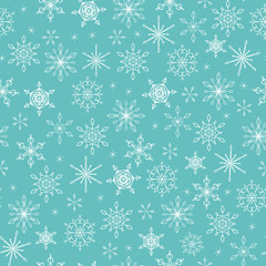 Christmas seamless pattern with snowflakes on turquoise background. For wallpaper, wrapping paper, web page background, Christmas and New Year greeting cards, gift paper, winter decorations.
