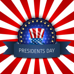 Presidents Day poster. Happy Presidents Day Background and symbols with USA flag. Vector illustration.