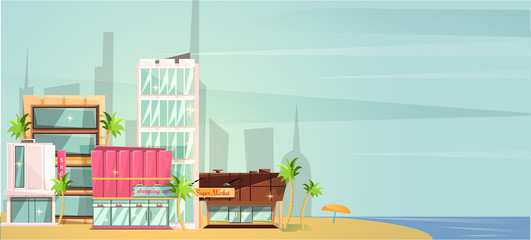 Big city ocean beach vector illustration, flat cartoon high city skyscraper buildings from sea view, modern town landscape, urban cityscape or shore