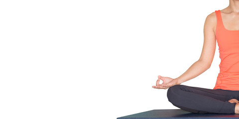 Close up hands of master yoga seated doing Hand Mudra and meditates isolated white background.wellness and healthy lifestyle,leave space for adding text