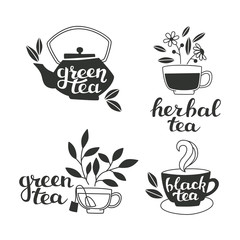 Tea Elements Silhouette with Hand Lettering.