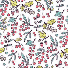 Seamless Vector Pattern with Hand Drawn Doodle Berries.