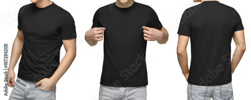 Young male in blank black t shirt front and back view isolated young male in blank black t shirt front and back view isolated white maxwellsz