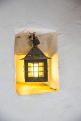 lamp, wall lamp on a yellow wall close-up, vintage, retro