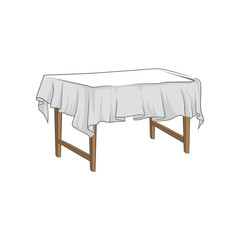 Empty square wooden table with tablecloth hand drawn vector Illustration