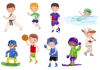Boys exercising and playing different sports, kids doing sports cartoon vector Illustrations