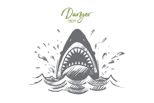 Danger concept. Hand drawn mouth of a shark like symbol of danger. Sea predator isolated vector illustration.