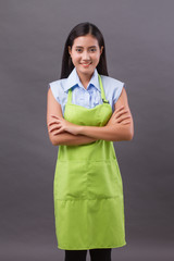 confident woman entrepreneur, shopkeeper, small business owner, arm crossing