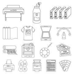 Typographical products outline icons in set collection for design. Printing and equipment vector symbol stock web illustration.