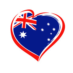 Love Australia, heart emblem. Flag of Australia with heart shape for Australia Day isolated on white background. Vector illustration