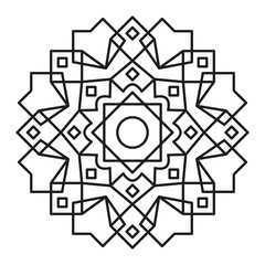 Mandala-Mandala. Round Element For Coloring Book. Black Lines on White lines-simple-90