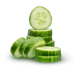 Slices (circles) cucumber isolated on white background.