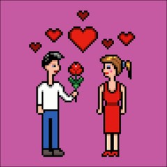 Boy gives flower to a girl, valentines day, pixel art vector illustration