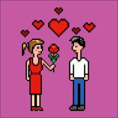 Girl gives flower to a boy, valentines day, pixel art vector illustration