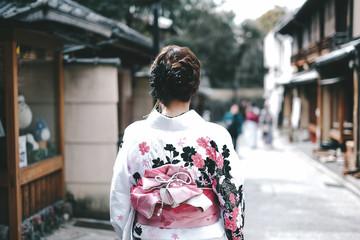 Asian women wearing traditional japanese kimono in Kyoto