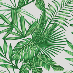Exotic tropical leaves seamless pattern