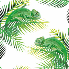 Seamless pattern chameleon on the banana leaves white background