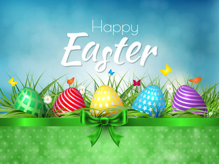 Happy Easter background with realistic Easter eggs. Easter card.