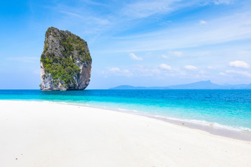 Perfect beach, white sand, transparent turquoise sea water, blue sky