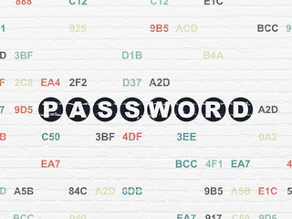 Safety concept: Painted black text Password on White Brick wall background with Hexadecimal Code