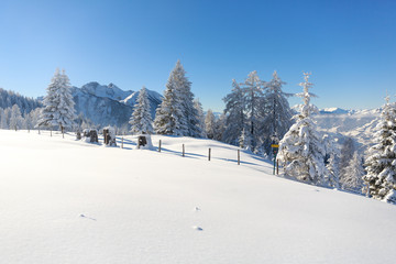 Fototapete - Winter in Austrian Alps. Amazing scenery with a lot if fresh snow