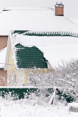 Snow on the roof of the house