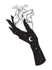 Human heart in hand of universe. Sticker, print or blackwork tattoo hand drawn vector illustration