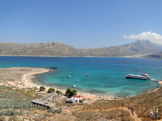 Azure lagoon Balos, on the Greek island of Crete.