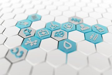 medical icons in a white hexagonal background