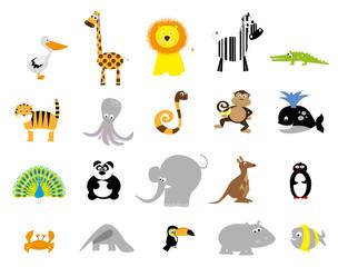 vector set of flat style wild animals / for children