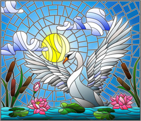 Illustration in stained glass style with Swan , Lotus flowers and reeds on a pond in the sun, sky and clouds