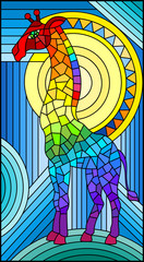 Illustration in stained glass style giraffe abstract rainbow geometric background with sun