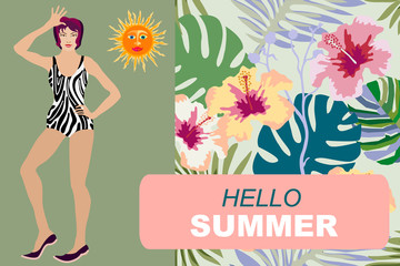 Hello summer card design.
