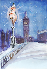 London night street view painting, streetlamp and Big Ben