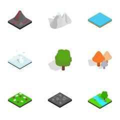 Nature scene icons set, isometric 3d style