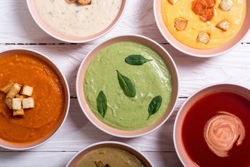 Set of cream soups