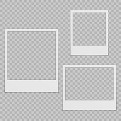Set of blank photo frames with shadow.